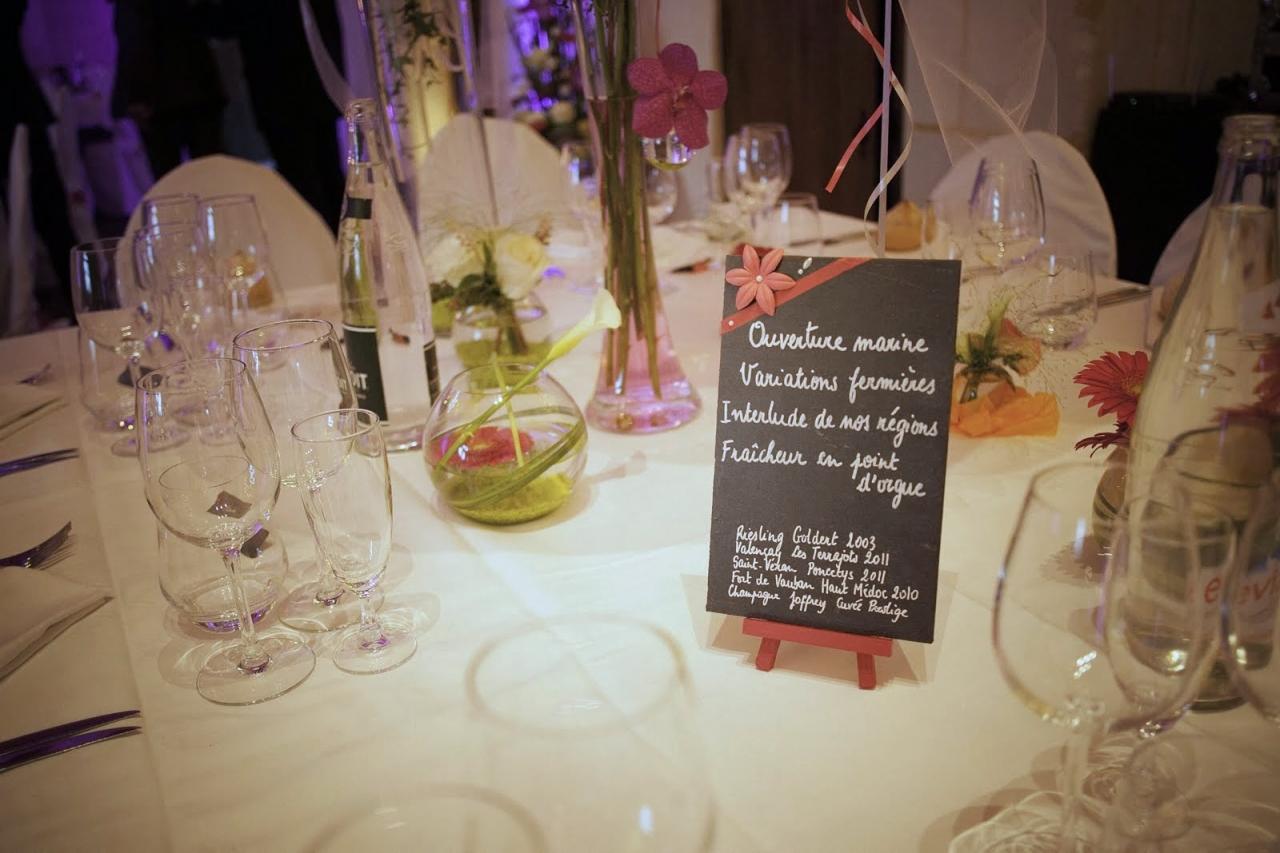 Menu sur une table de mariage