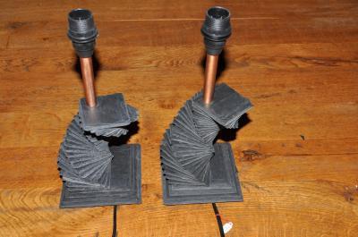 2 lampes de chevet en ardoise