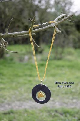 Collier Ardoise et coeur céramique